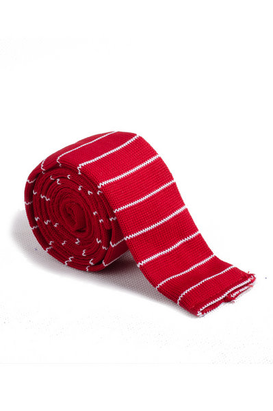 Fire Brick White Line Knitted Tie