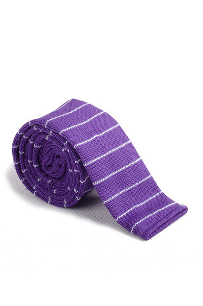 Dark Orchid White Line Knitted Tie
