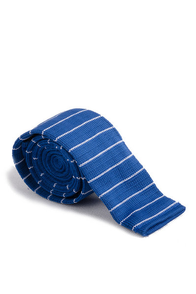 Cobalt White Line Knitted Tie