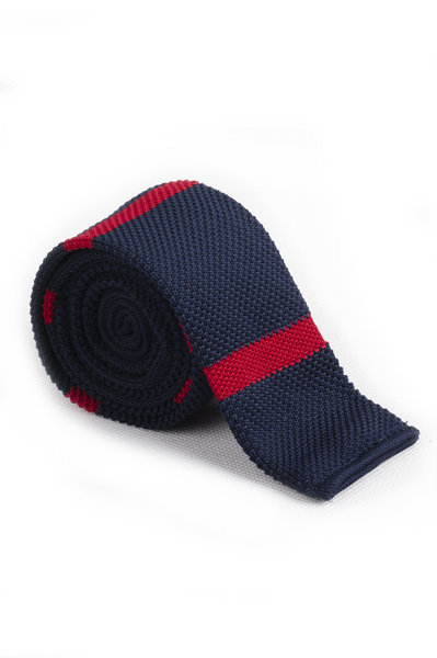 Prussian Blue Crimson Knitted Tie