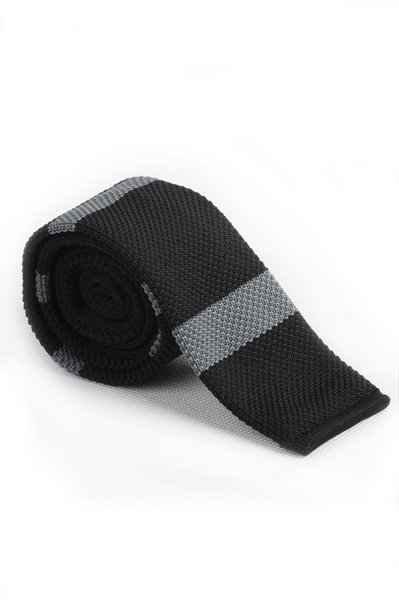 Black Light Gray Knitted Tie