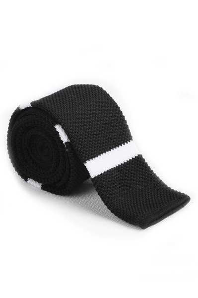 Black White Thick Line Knitted Tie