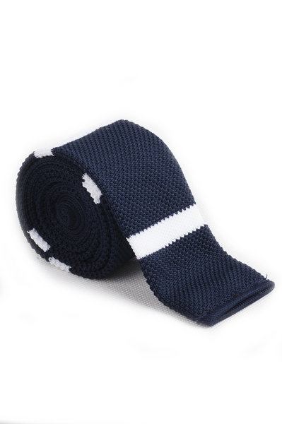 Midnight Blue White Thick Line Knitted Tie