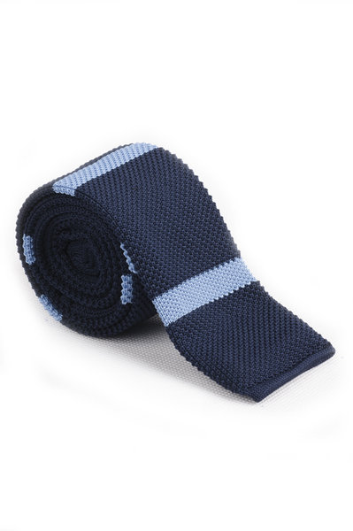 Navy Sky Blue Knitted Tie