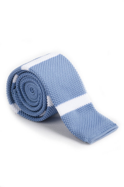 Dodger Blue White Knitted Tie