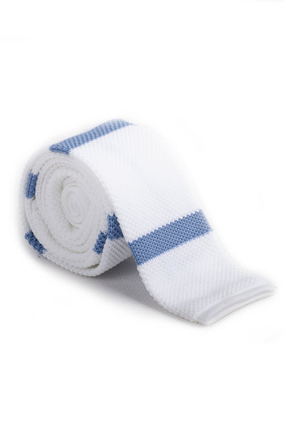 White Dodger Thick Line Knitted Tie