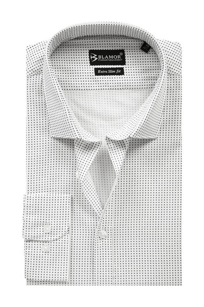 Extra Slim Fit White Small Tick Shirt