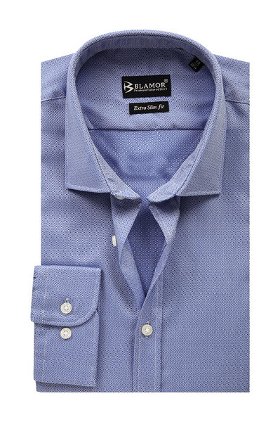 Extra Slim Fit Persian Blue Small Squares Shirt