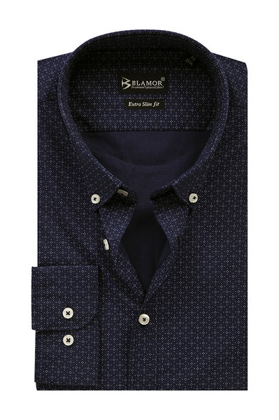 Extra Slim Fit Dark Navy White Star Point Shirt