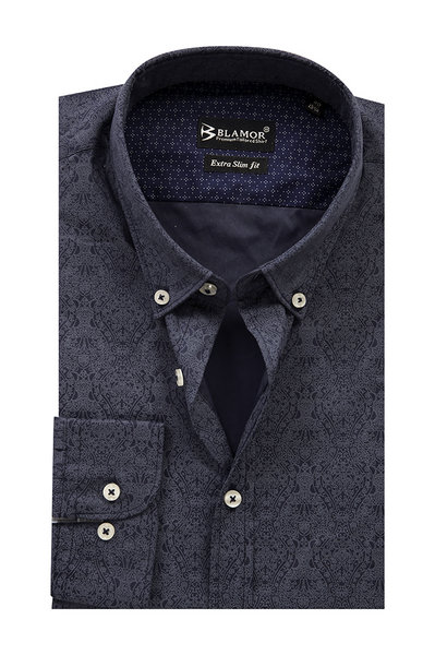 Extra Slim Fit Navy Textured Shirt