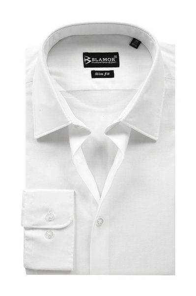 Slim Fit White Oxford Plain Collar Shirt