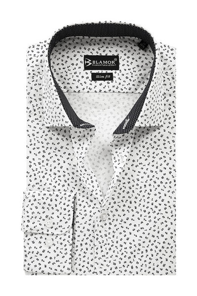 Slim Fit White Printed Shirt