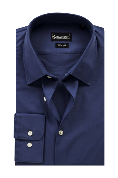 Slim Fit Navy Plain Shirt