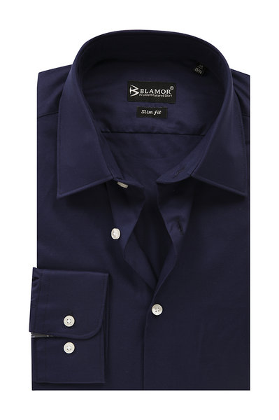 Slim Fit Dark Navy Plain Shirt
