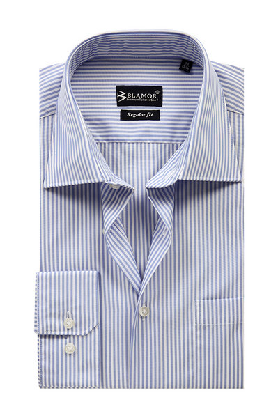 Regular Fit Blue Stripe Pinpoint Shirt