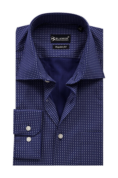 Regular Fit Midnight Blue White Tick Shirt