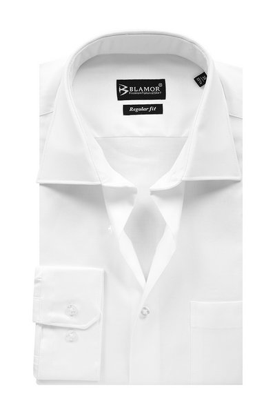 Regular Fit Plain White Twill Cutaway Collar Shirt