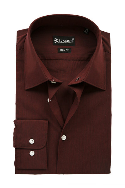 Slim Fit Maroon Plain Shirt