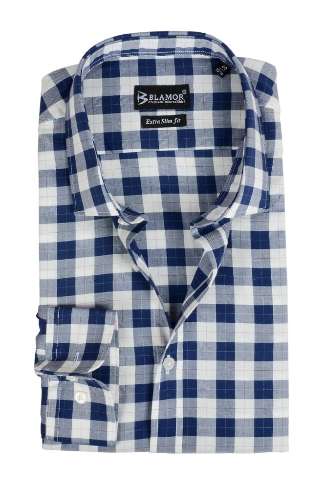 Extra Slim Fit Ocean Blue Block Check Shirt