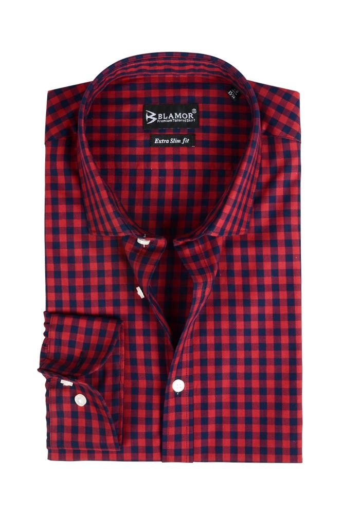 Extra Slim Fit Red Navy Check Shirt