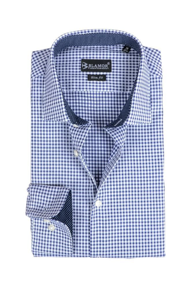 Slim Fit White Ocean Blue Small Check Shirt