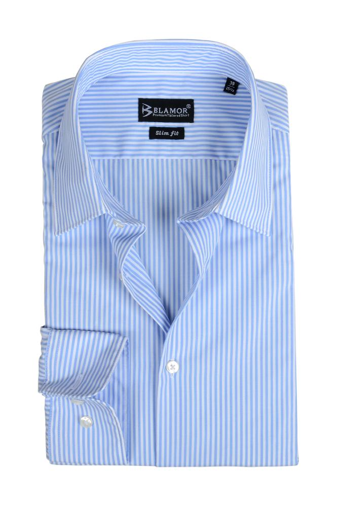 Slim Fit White Sky Blue Stripe Shirt