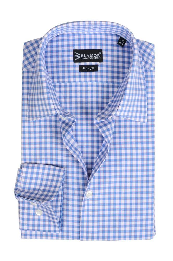 Slim Fit Light Blue Gingham Shirt