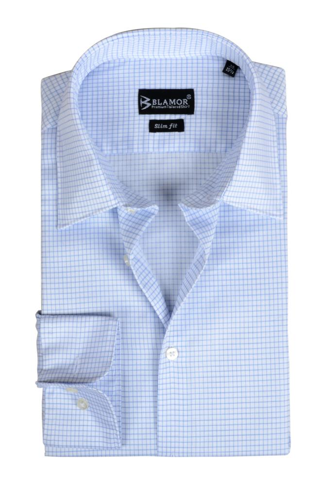 Slim Fit White Blue Check Twill Shirt