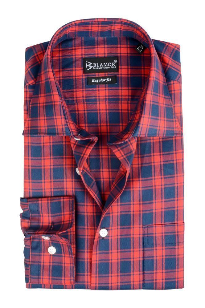 Regular Fit Tomato Prussian Blue Block Check Shirt