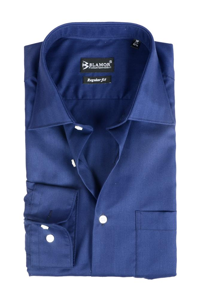 Regular Fit Plain Midnight Blue Shirt