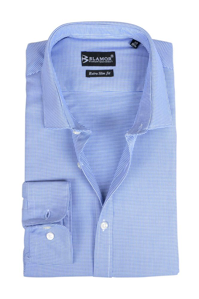 Extra Slim Fit Sky Blue Dogtooth Shirt