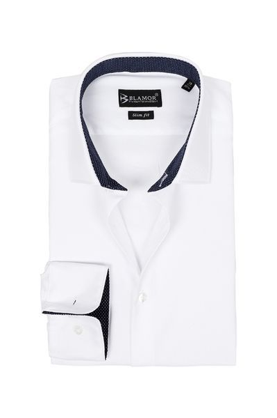 Slim Fit White Check Twill Shirt