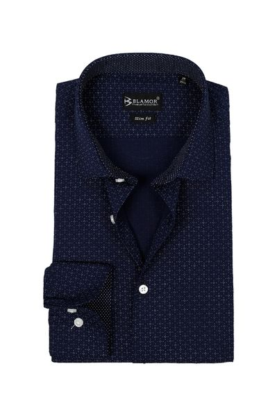Slim Fit Dark Navy Textured Egyptian Shirt