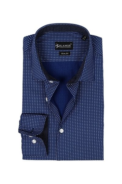 Slim Fit Navy Dobby Weave Shirt
