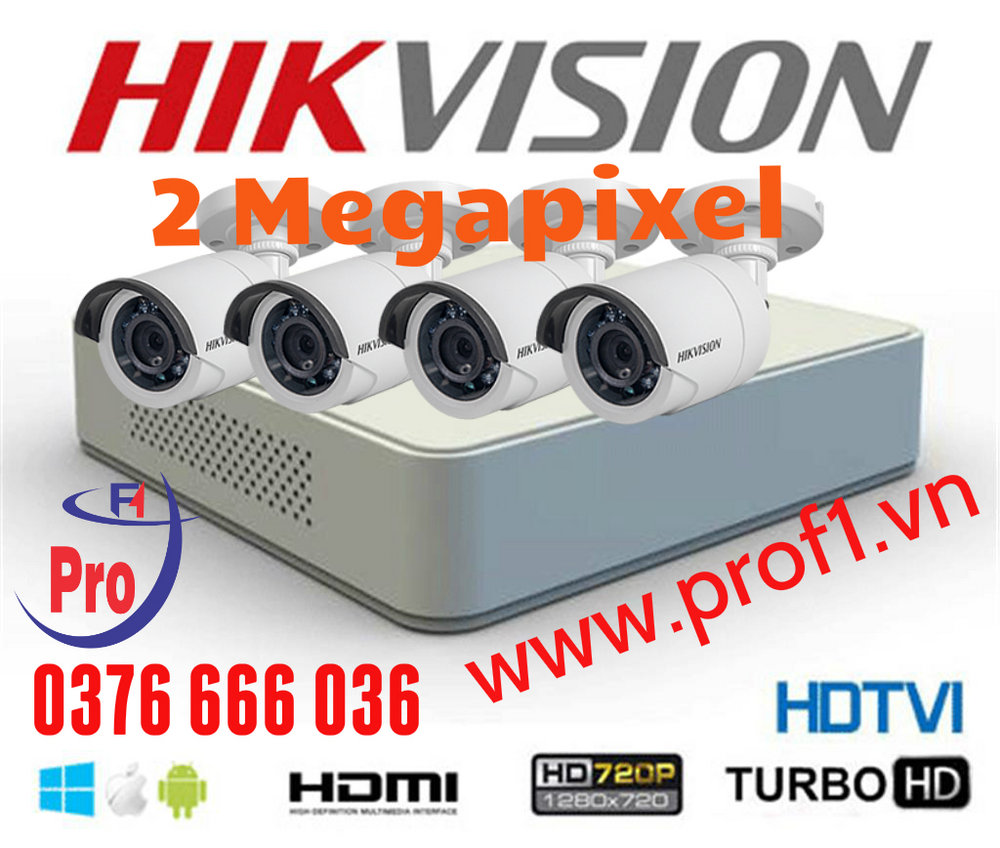 Trọn bộ 4 camera Hikvision DS-2CE16DOT-IR 2.0MP