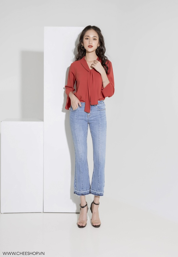 Jeans ống vẩy xanh