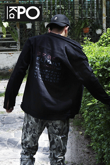 Jacket jean black printed KH603