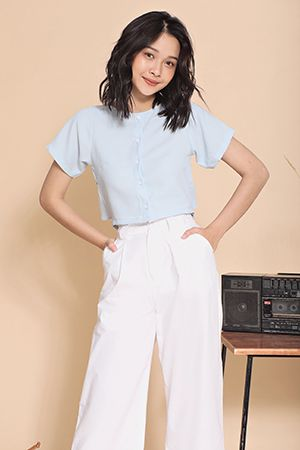 Creamy crop shirt (Blue)