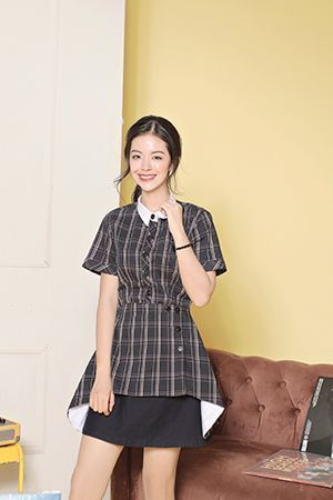 Junior Check Shirt ( Black )-M
