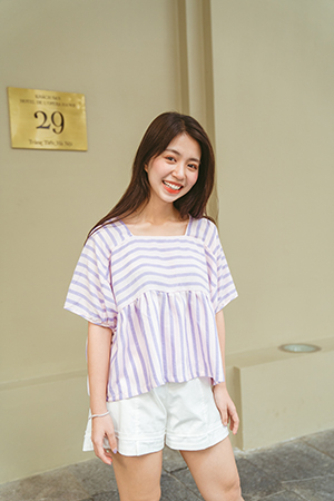 MT Structured Top (Sọc hồng tím)