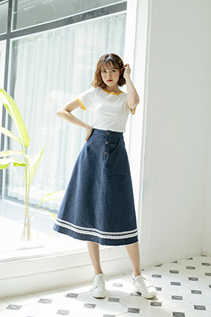 0519 Vintage Denim Midi Skirt (dài)