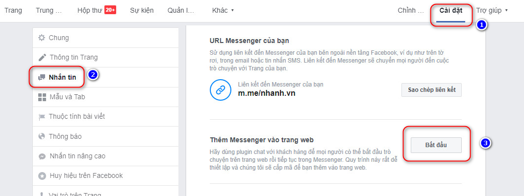 thêm box chat Facebook vào website
