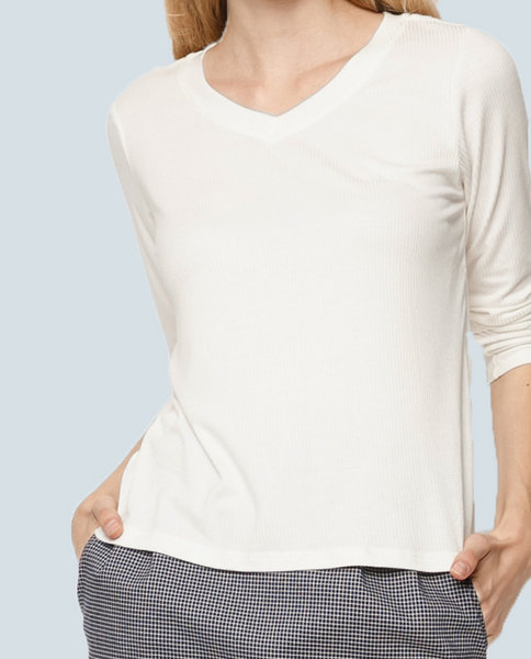 Long Sleeve Ribbed Top ( WH )