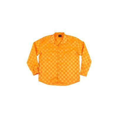 After Party Checkerboard Long Sleeve Shirt - Neon Orange