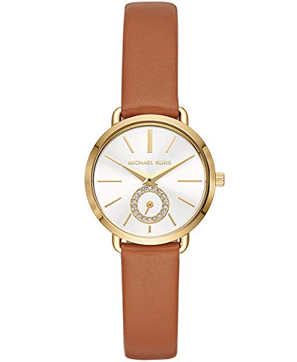Michael Kors Women's Gold-Tone and Luggage Leather Portia Watch MK2734