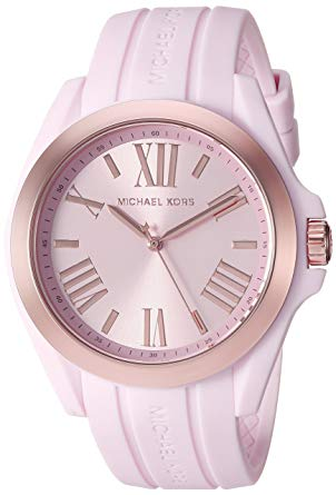 Michael Kors Women's Bradshaw Rose Gold-Tone and Pale Pink Silicone Watch MK2732
