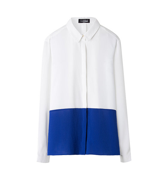 COLOUR BLOCK BLOUSE (COBALT)
