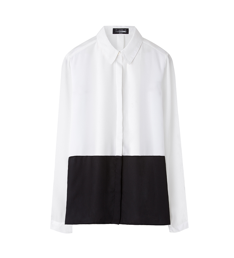 COLOUR BLOCK BLOUSE (BLACK)