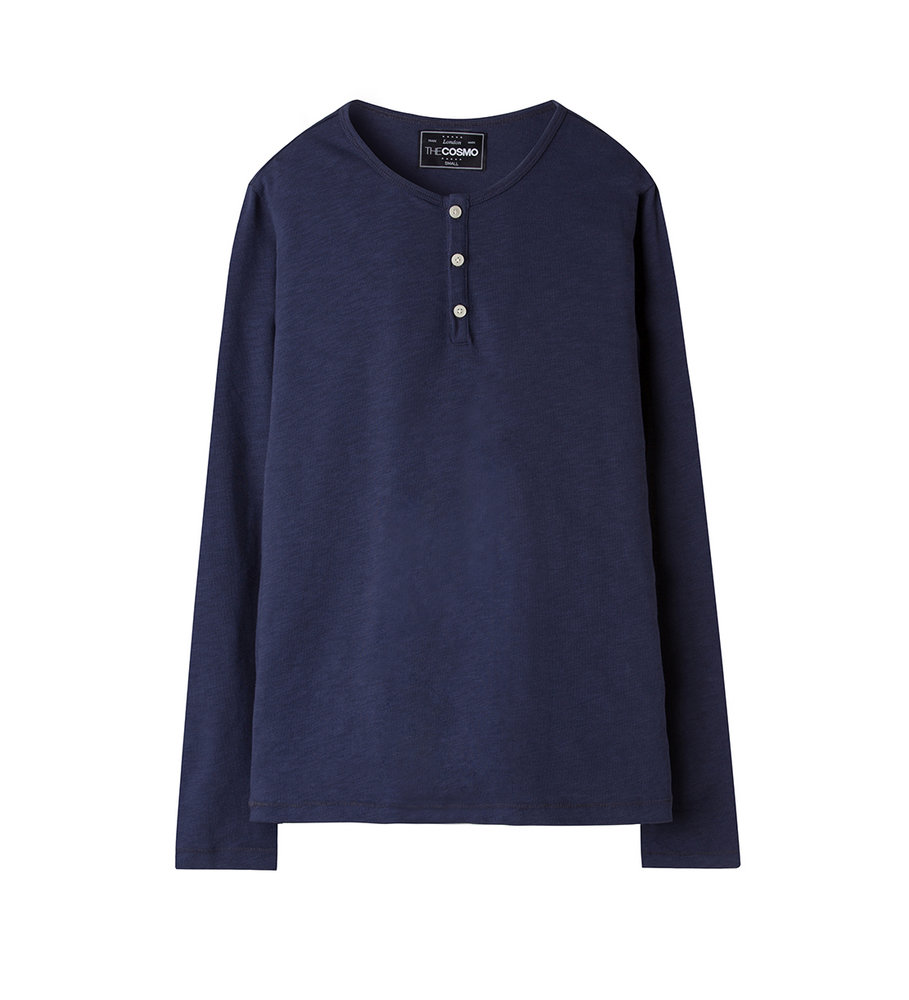 LONG SLEEVE HENLEY SHIRT(NAVY)
