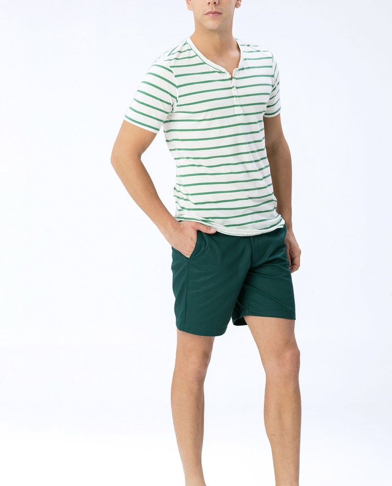 HENLEY STRIPE TEE (GREEN)